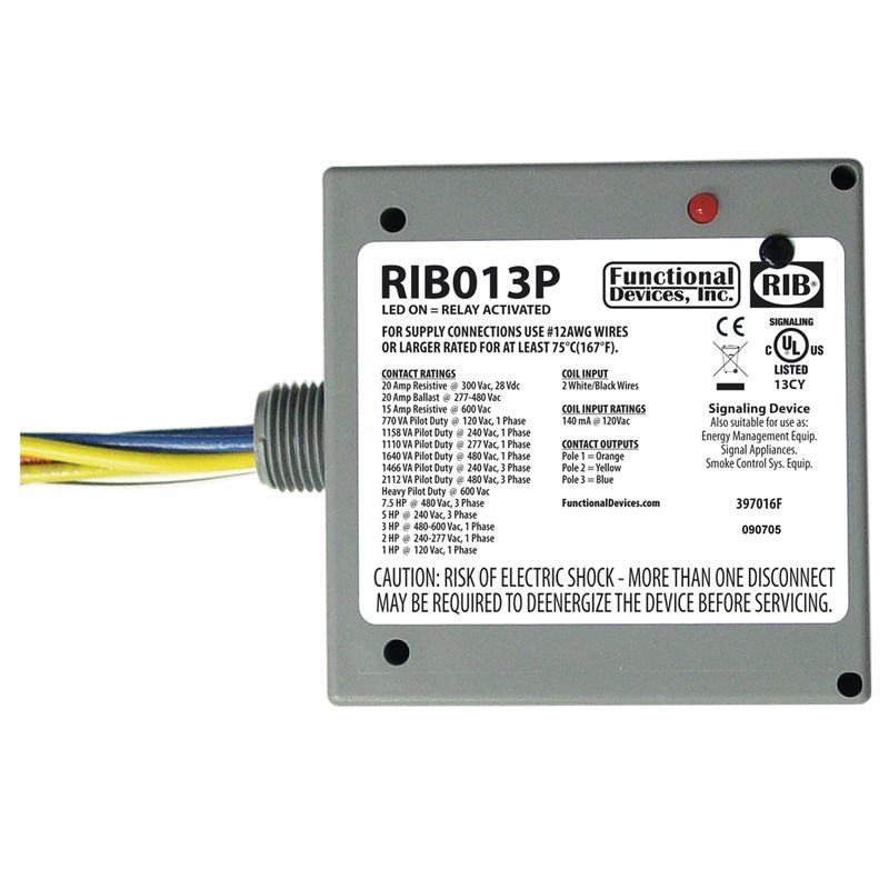 Functional Devices RIBL3C Pilot Relays 10-30 Vac//dc Coil NEMA 1 Housing 10 Amp 3 SPST-N//O