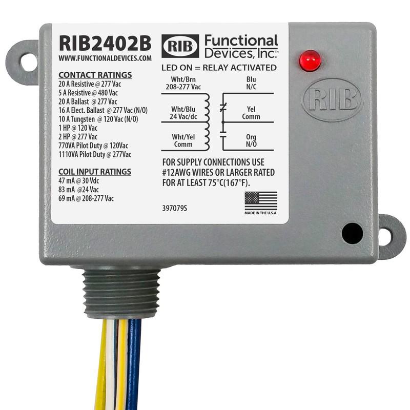FUNCTIONAL DEVICES INC RIB RIB2401SB Enclosed Pre-Wired Relay,20A@277VAC,SPST